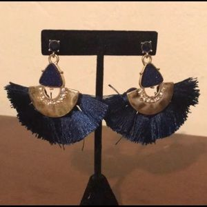 Blue and gold  big earrings